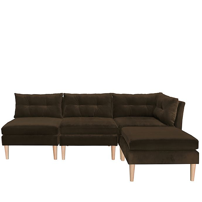 Alternate image 1 for Varick 4-Piece Velvet Sectional Sofa with Ottoman in Chocolate