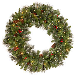 National Tree Company 30-Inch Crestwood Spruce Pre-Lit Wreath with Clear Lights