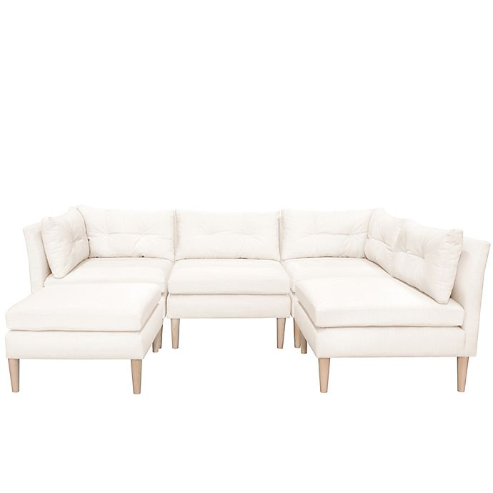 Varick 5-Piece Linen Sectional Sofa with Ottoman | Bed Bath ...