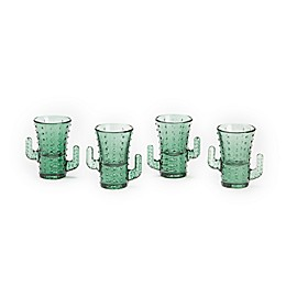 Two's Company Cactus Shot Glasses in Green (Set of 4)