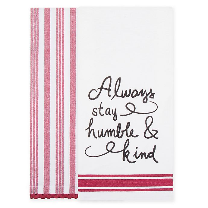 Alternate image 1 for Bee & Willow™ Home 2-Pack Humble Kitchen Towels in White/Red