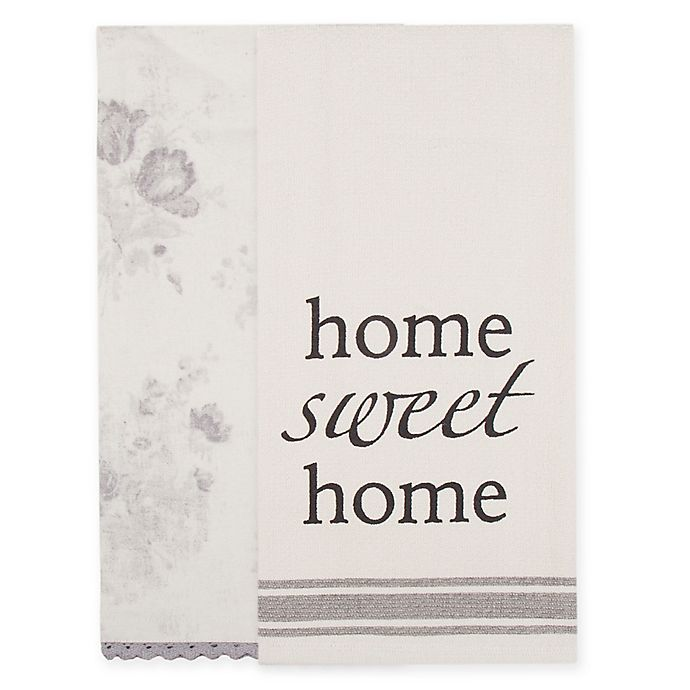 Alternate image 1 for Bee & Willow™ Home 2-Pack Home Kitchen Towels in Ivory/Grey