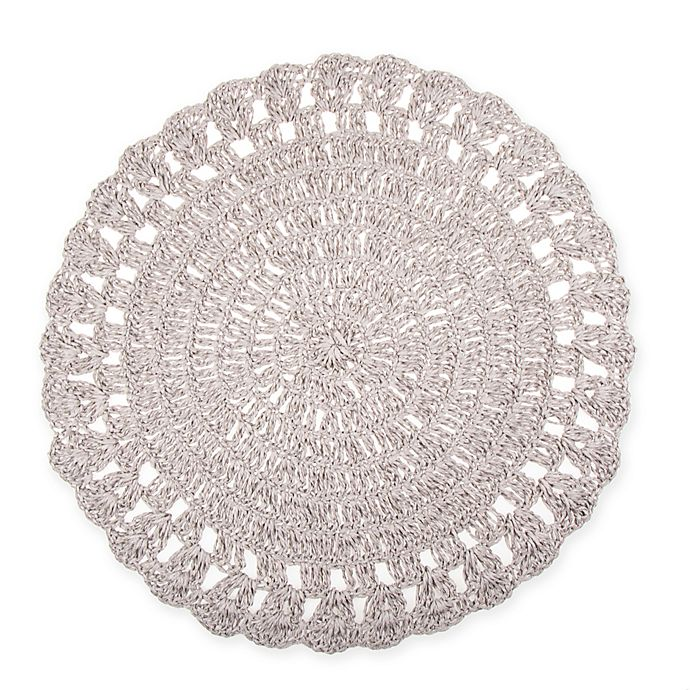 Alternate image 1 for Bee & Willow™ Home Round Crochet Placemat in Grey