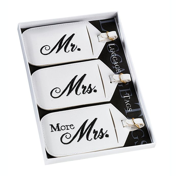 Alternate image 1 for Lillian Rose™ Mr. and Mrs. White Luggage Tags (Set of 3)