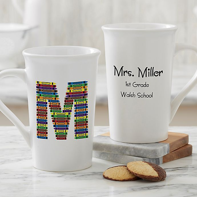 Alternate image 1 for Personalized Crayon Letter Teacher Coffee Mug