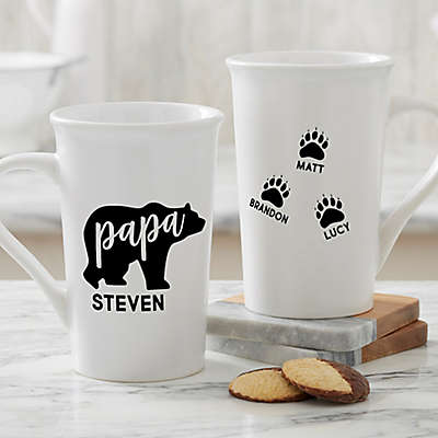 Personalized Papa Bear Latte Mug 16 oz