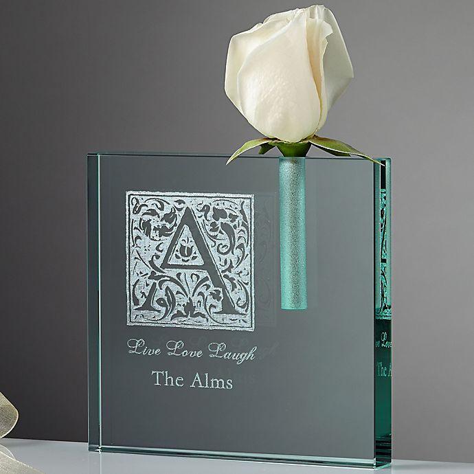 Alternate image 1 for Floral Monogram Personalized Bud Vase