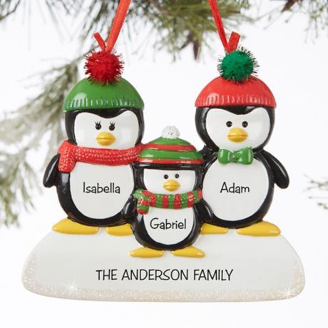 family christmas ornaments penguin family 3 name ornament bed bath amp beyond 12173