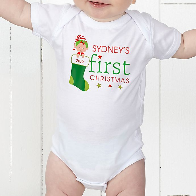 Alternate image 1 for First Christmas Character Personalized Baby Bodysuit