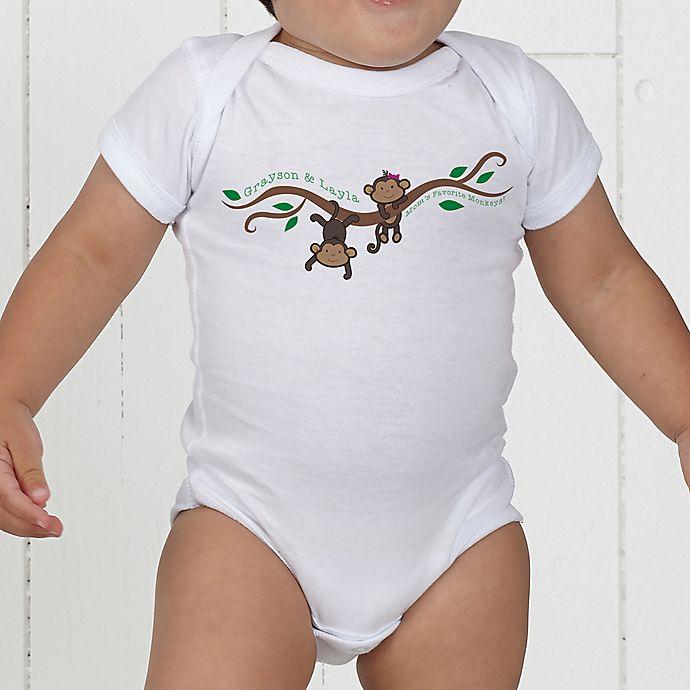 Alternate image 1 for Two Little Monkeys Personalized Baby Bodysuit
