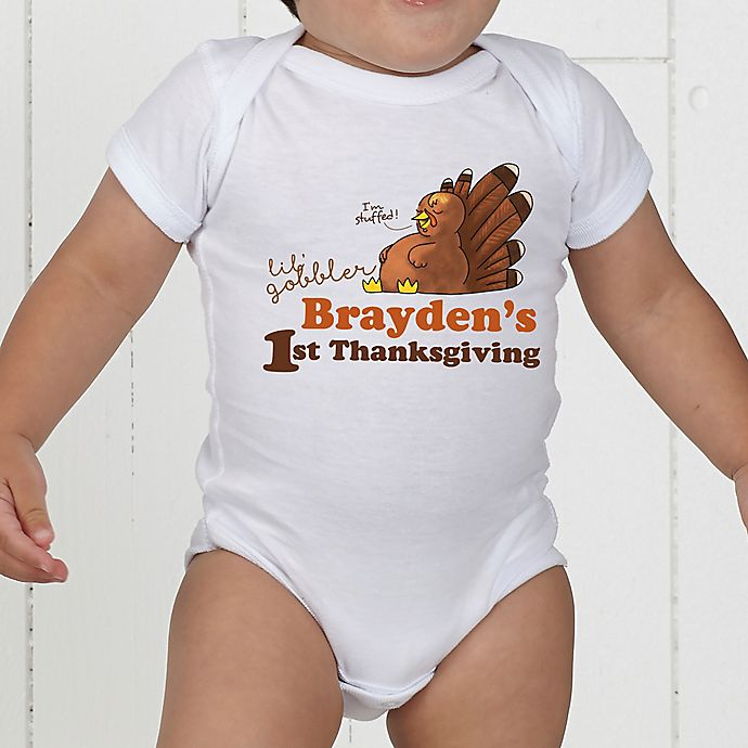 Alternate image 1 for My First Thanksgiving Personalized Baby Bodysuit