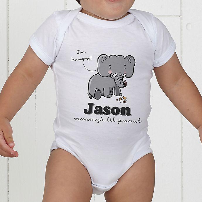 Alternate image 1 for Lovable Elephant Personalized Baby Bodysuit