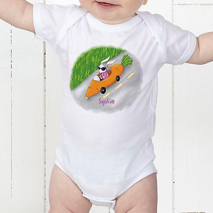 Alternate image 1 for Retro Rabbit Easter Personalized Baby Bodysuit