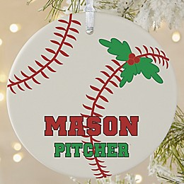 Baseball 1-Sided Matte Christmas Ornament