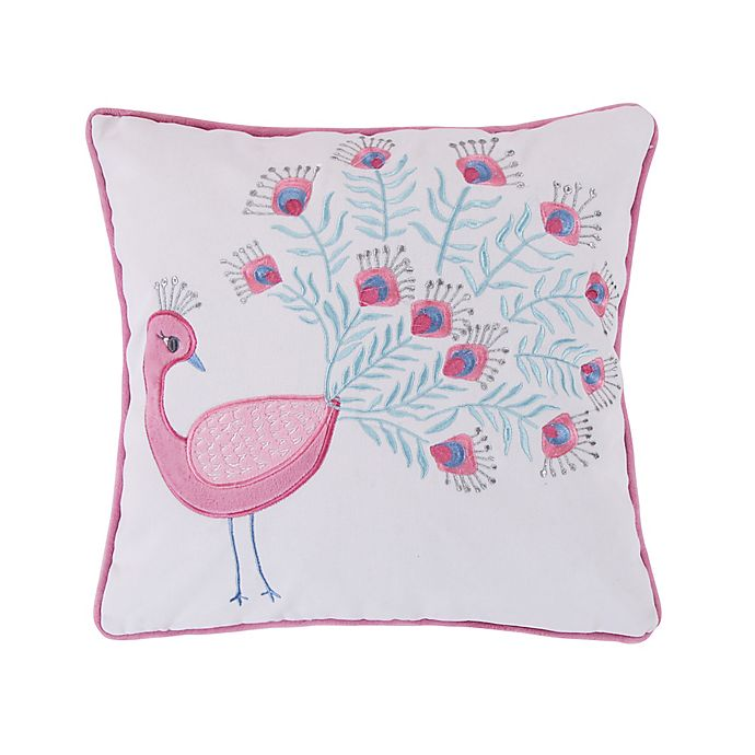 Alternate image 1 for Levtex Home Bobbi Peacock Square Throw Pillow in Pink/White