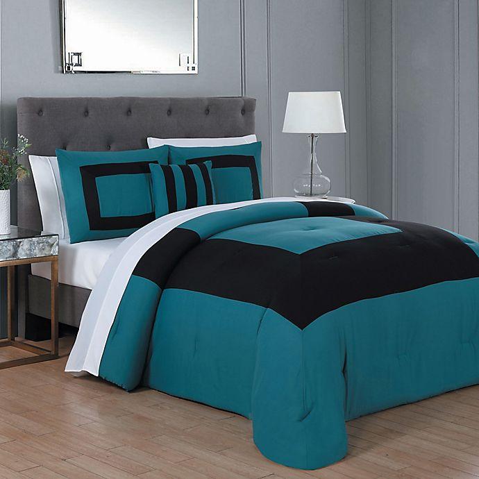 Alternate image 1 for Carson 8-Piece King Comforter Set in Teal/Black