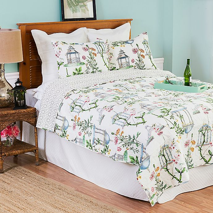 Alternate image 1 for Garden Folly Full/Queen Quilt Set in Green