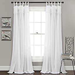 Lydia Ruffle 84-Inch Tie Tab Window Curtain Panel Pair in White