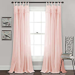 Lydia Ruffle Tie Tab Window Curtain Panels (Set of 2)
