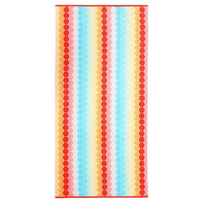 Alternate image 1 for Honeycomb Velour Beach Towel