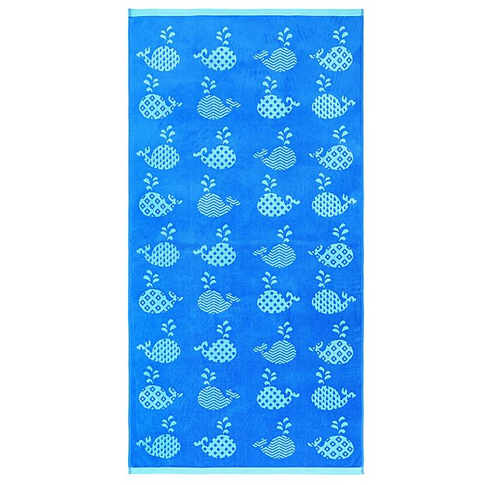 Alternate image 1 for Geometric Whales Velour Beach Towel
