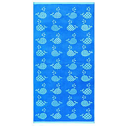 Geometric Whales Velour Beach Towel