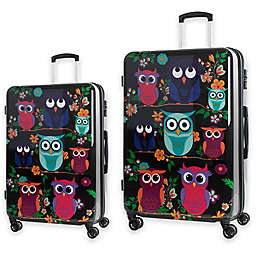American Green Travel Owls Hardside Spinner Checked Luggage
