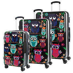 American Green Travel Owls 3-Piece Hardside Spinner Luggage Set