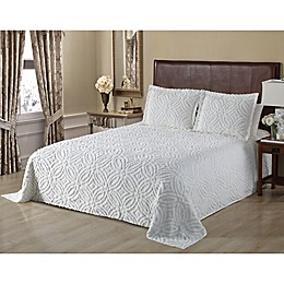 Wedding Ring Chenille Bedspread in White