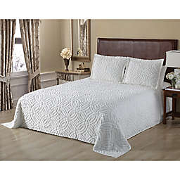Wedding Ring Chenille King Bedspread in White