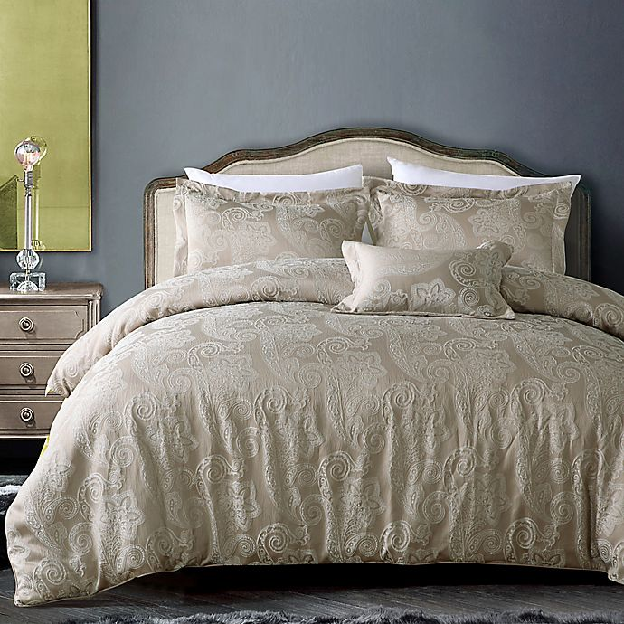 Alternate image 1 for California Design Hotel Paisley 4-Piece King Comforter Set in Champagne