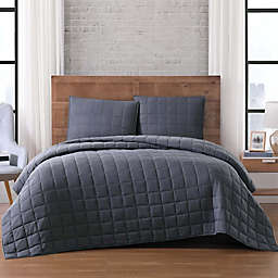 Brooklyn Loom Winston 2-Piece Reversible Twin Quilt Set in Grey