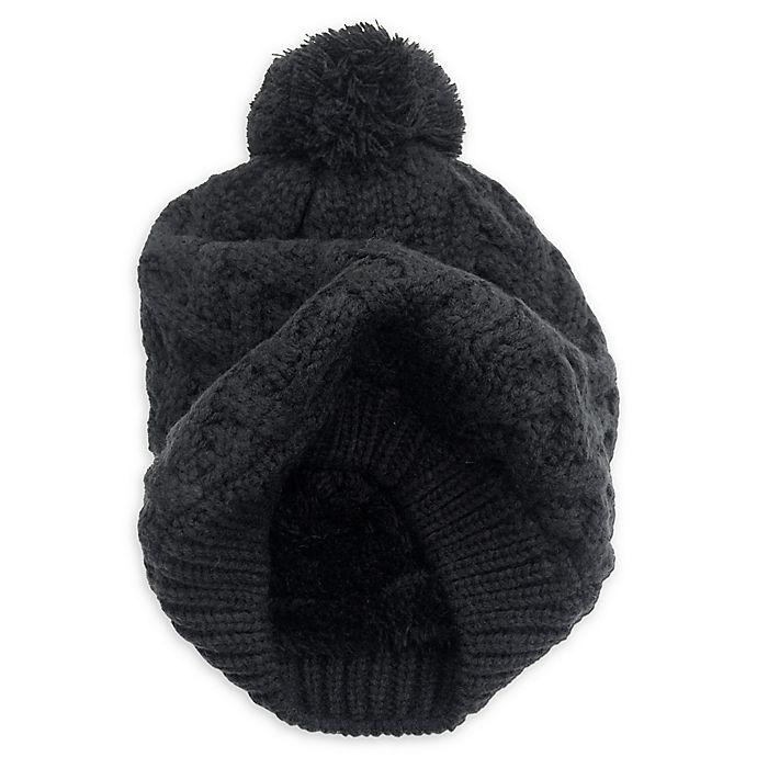 Alternate image 1 for Isaac Mizrahi Crisscross Pom Beanie in Black