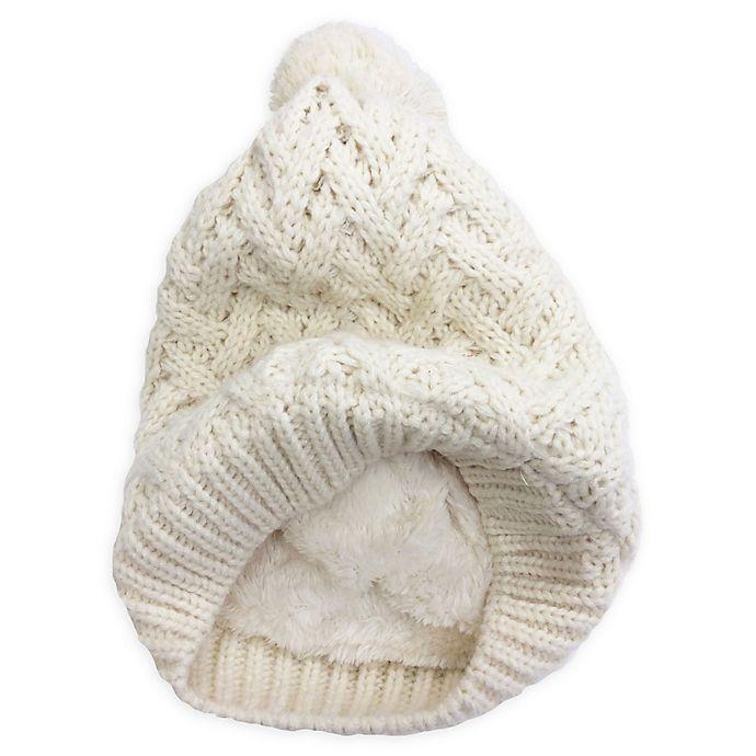 Alternate image 1 for Isaac Mizrahi Crisscross Pom Beanie in White