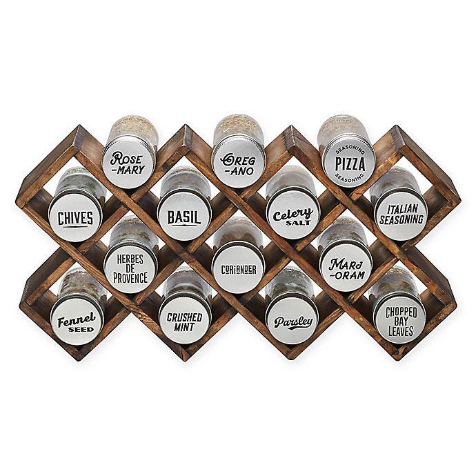 Alternate image 1 for Kamenstein® 14-Jar Wood Criss-Cross Spice Rack in Grey