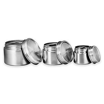 Bruntmor™ 3-Piece Stainless Steel Round Food Container Set with Screw-On Lids