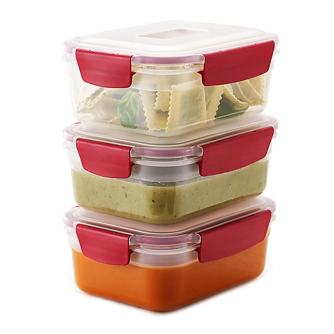 Alternate image 1 for Joseph Joseph® Nest Lock™ 6-Piece 37 oz. Food Storage Set in Red