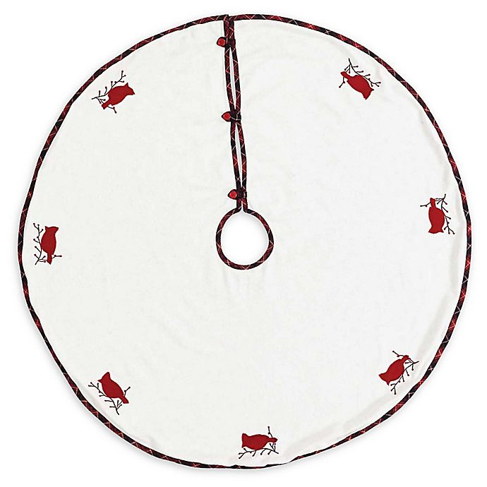 Alternate image 1 for VHC Brands Seasons Greetings Christmas Tree Skirt in White/Red