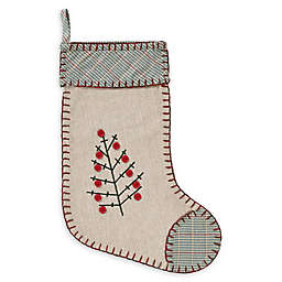 15-Inch Tidings Christmas Stocking in Green