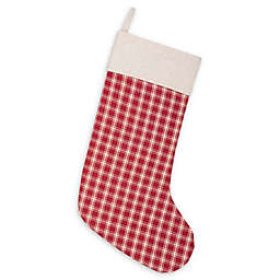 20-Inch Plaid Christmas Stocking in Red/Cream