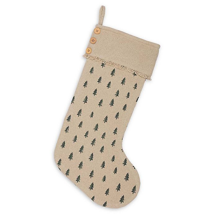 Alternate image 1 for VHC Brands Vintage Burlap Tree Christmas Stocking in Olive/Red