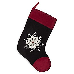 VHC Brands Christmas Snowflake Stocking in Black/Red