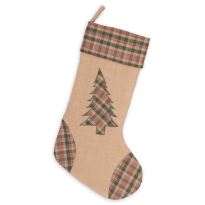 Alternate image 1 for VHC Brands Clement Tree Christmas Stocking in Tan/Green