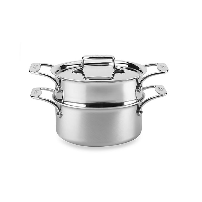 Alternate image 1 for All-Clad d5® Brushed Stainless Steel 3 qt. Covered Casserole and Steamer
