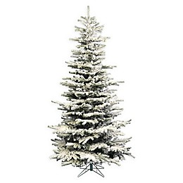 Perfect Holiday Pre-Lit Slim Flocked Artificial Christmas Tree