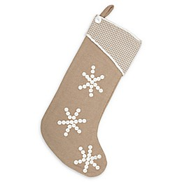 Pearlescent Christmas Stocking in Tan/White