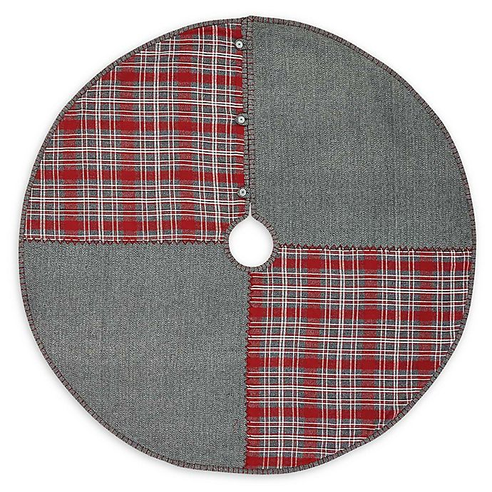 Alternate image 1 for VHC Brands Anderson Patchwork 48-Inch Christmas Tree Skirt in Red/Grey