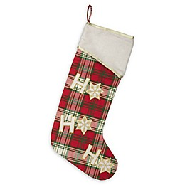 VHC Brands HO HO Holiday Christmas Stocking in Red/Green