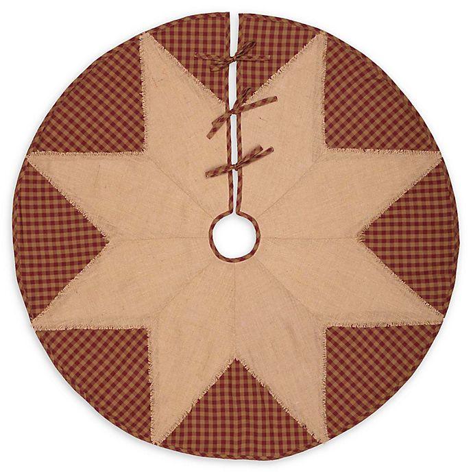 Alternate image 1 for 48-Inch Check Star Christmas Tree Skirt in Burgundy