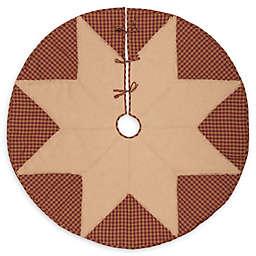 Check Star Christmas Tree Skirt in Burgundy